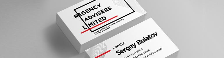 Кейс по созданию дизайна визитки для Regency Advisers
